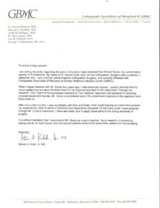 Letter of Recommendation from Dr. Steven Kulik